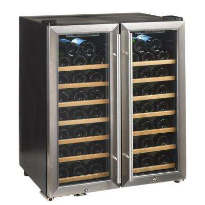 Silent 48-Bottle Dual Zone Wine Cooler with Stainless Steel/Wood Shelves