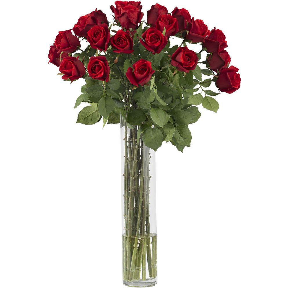 Nearly Natural 32 in. H Red Rosebud with Cylinder Silk Flower Arrangement