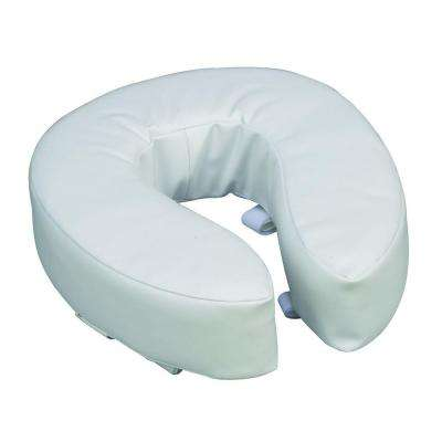 Vinyl Cushion 4 in. Round Front Toilet Seat in White