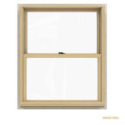 33.375 in. x 40.5 in. W-2500 Series White Painted Clad Wood Double Hung Window w/ Natural Interior and Low-E Glass