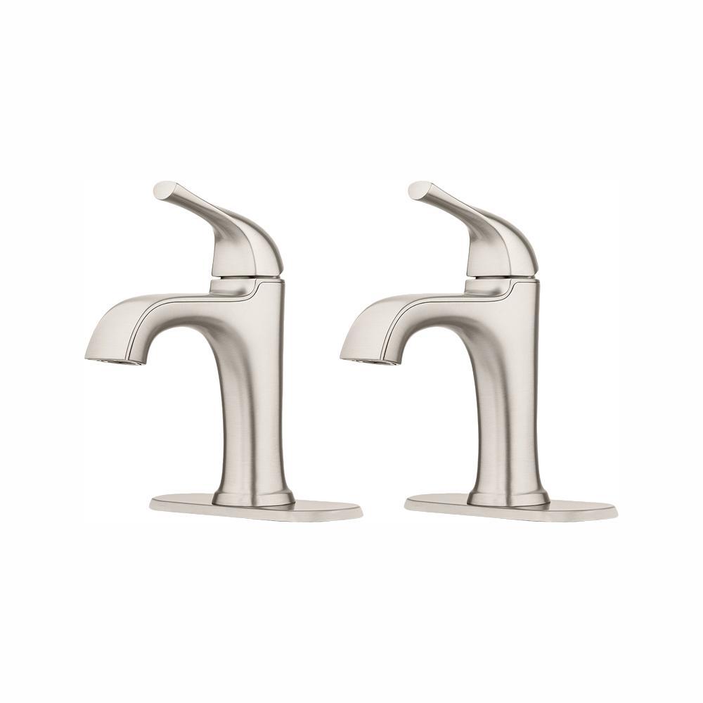 Ladera 4 in. Centerset Single-Handle Bathroom Faucet in Spot Defense Brushed Nickel (2-Pack)