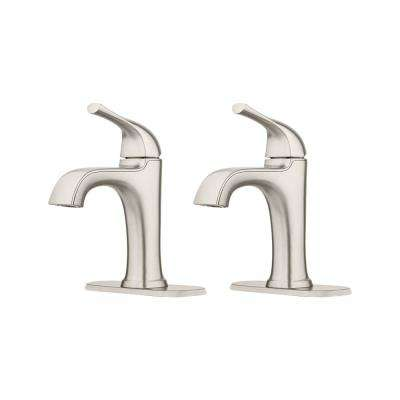 Ladera 4 in. Centerset Single-Handle Bathroom Faucet in Spot Defense Brushed Nickel (2-Pack)