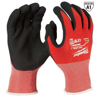 Large Red Nitrile Dipped Work Gloves