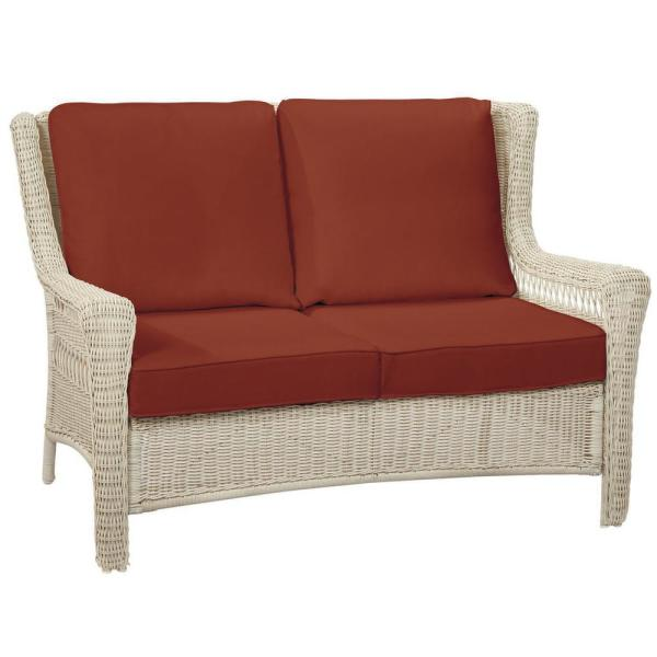 Park Meadows Off-White Wicker Outdoor Patio Loveseat with Sunbrella Henna Red Cushions