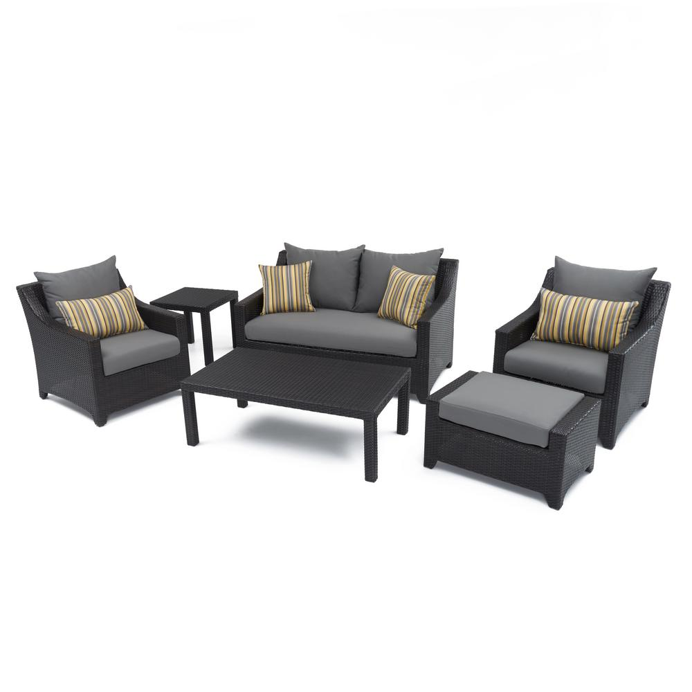 Rst Brands Deco 6 Piece Patio Seating Set With Charcoal Grey Cushions