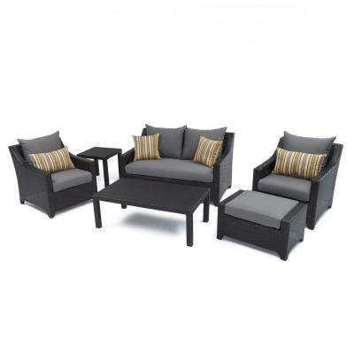 Deco 6 Piece Patio Seating Set With Charcoal Grey Cushions