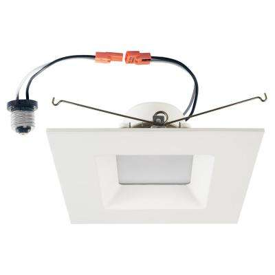 120-Watt Equivalent 15-Watt 6 in. Square White Integrated LED Recessed Dimmable Wet Loc Downlight Trim Soft White 99957