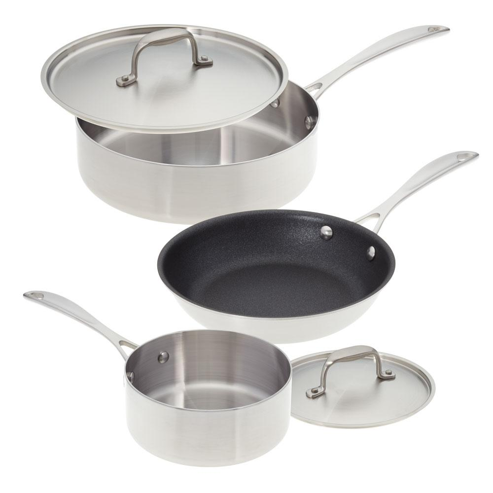American Kitchen Single And Loving It 5 Piece Stainless Steel Cookware Set Ak 005a The Home Depot