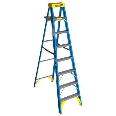 8 ft. Fiberglass Step Ladder with 250 lb. Load Capacity Type I Duty Rating