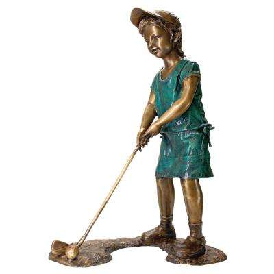 40 in. H Gabrielle The Girl Golfer Cast Bronze Garden Statue