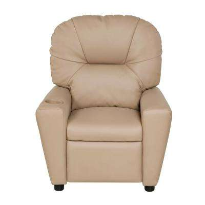 Beige Youth Recliner with Cup Holder and Dual USB