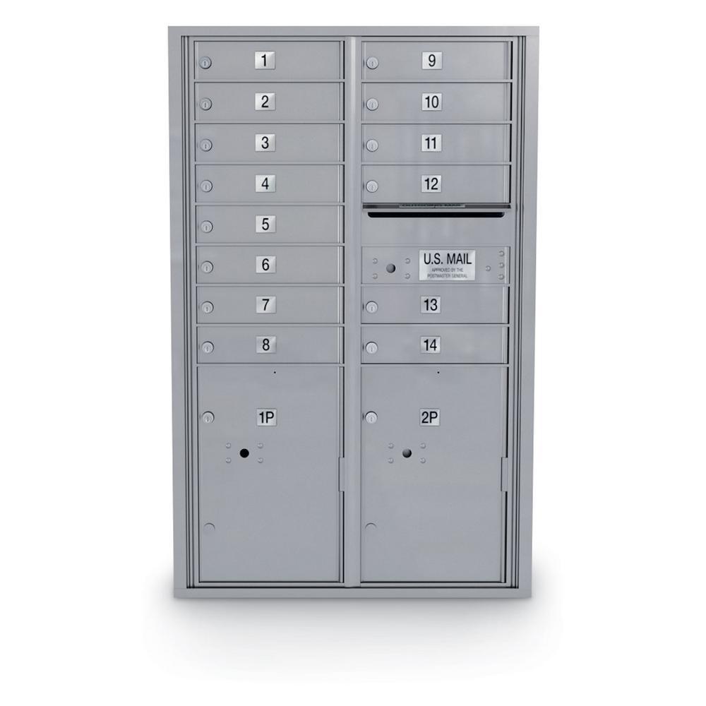 14 Door Standard 4C Mailbox with 2 Parcel Door