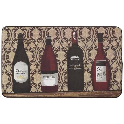 Assorted Wines 18 in. x 30 in. Faux Leather Anti Fatigue Gelness Kitchen Mat