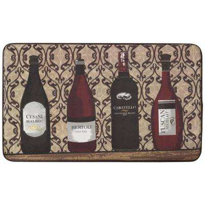 Assorted Wines 18 in. x 30 in. Faux Leather Comfort Kitchen Mat