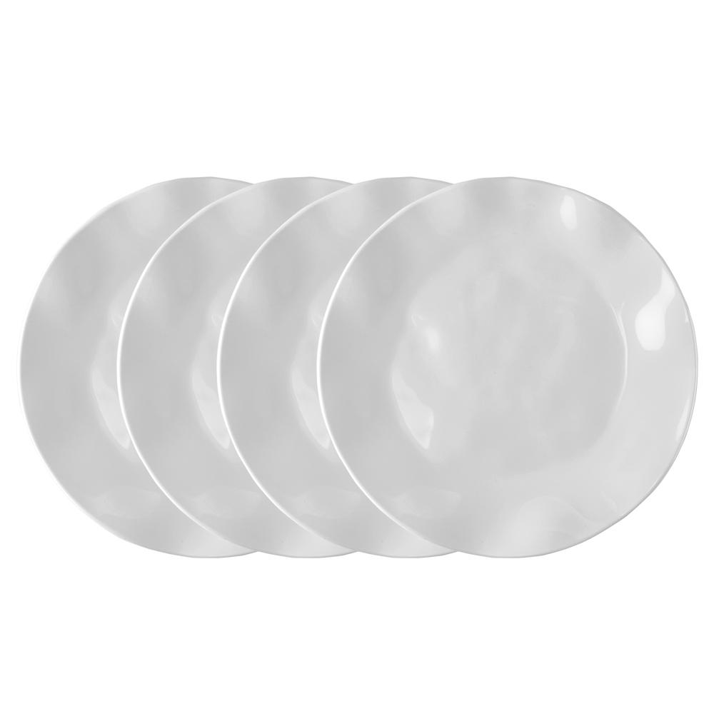 Q Squared Ruffle 4-Piece White Melamine Dinner Plate Set  sc 1 st  The Home Depot & Q Squared Ruffle 4-Piece White Melamine Dinner Plate Set-83805 - The ...