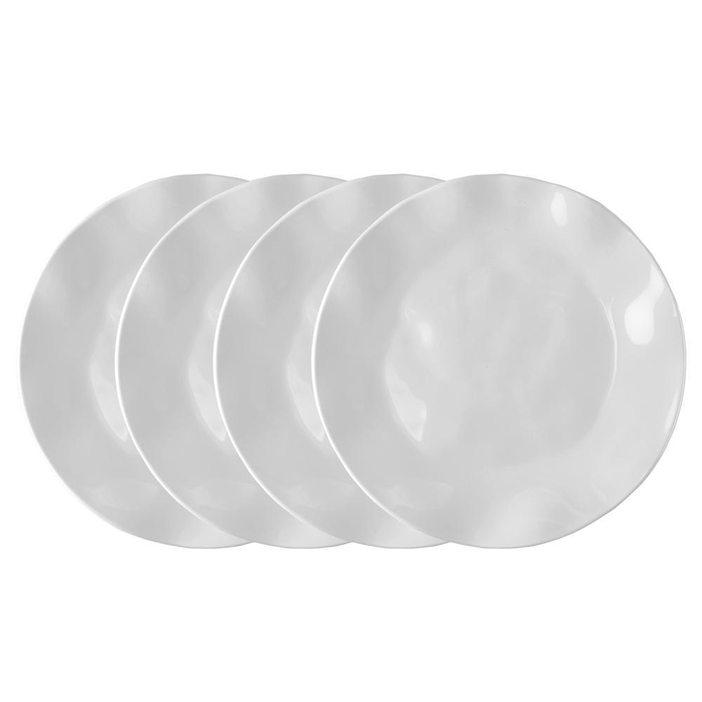 Ruffle 4-Piece White Melamine Dinner Plate Set