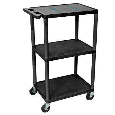24 in. W x 18 in. D x 41 in. H 3-Shelf A/V Cart, Black