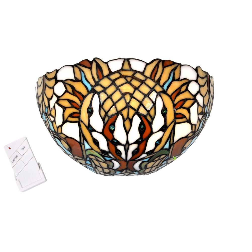 It's Exciting Lighting Wall Mount Stained Glass Half Moon Southwestern Thunderbird Battery Operated 7 LED Sconce