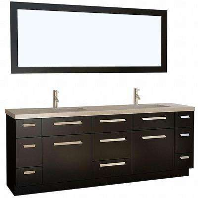 Moscony 84 in. W x 22 in. D Vanity in Espresso with Quartz Vanity Top and Mirror in Espresso