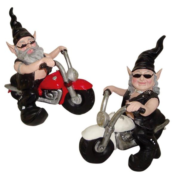 12 in. H Biker Dude and Babe the Biker Gnomes in Leather Motorcycle Gear Riding Red and White Bikes