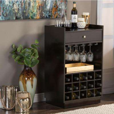 Oscar Contemporary Dark Brown Wood Finish Wine Cabinet
