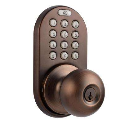Oil Rubbed Bronze Single-Cylidner Electronic Door Knob with Keyless Back-Lit Keypad Entry