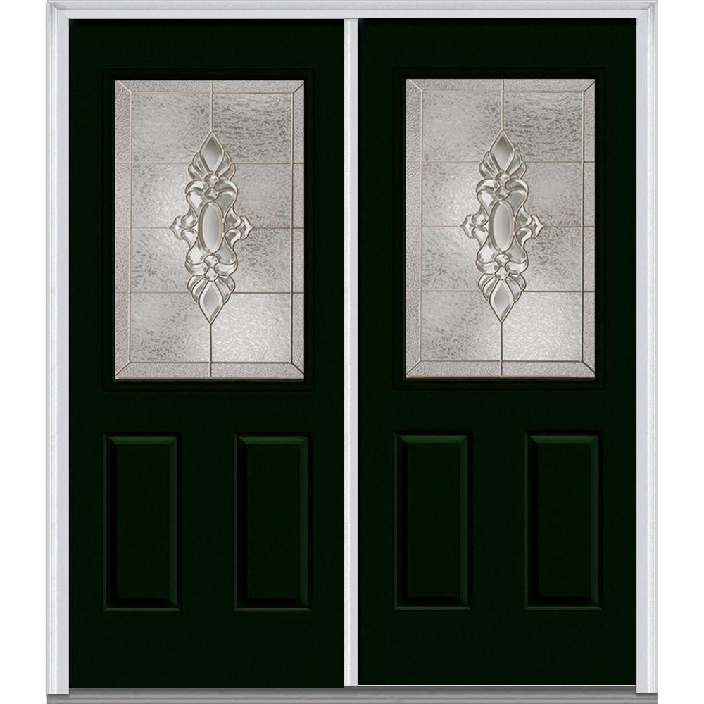 Heirloom Master Deco Glass 1/2 Lite Painted Majestic Steel Double Prehung Front Door