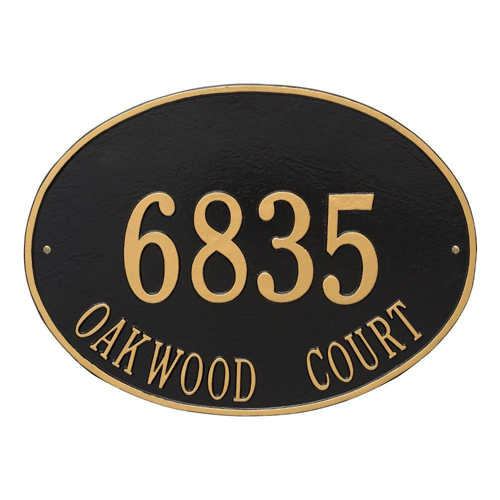 Whitehall Products Hawthorne Estate Oval Black/Gold Wall 2-Line Address Plaque