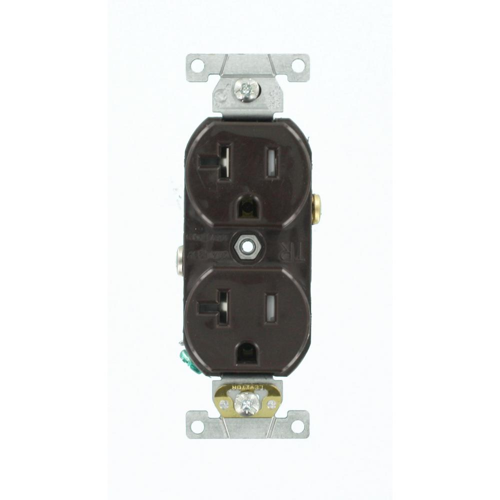 Leviton 20 Amp Commercial Grade Tamper Resistant Self Grounding Duplex Outlet, Brown