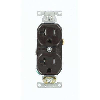 20 Amp Commercial Grade Tamper Resistant Self Grounding Duplex Outlet, Brown