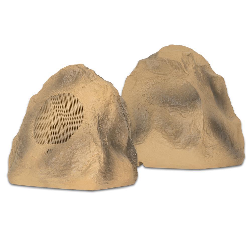 Sandstone Rock Speaker Pair Outdoor Weatherproof Full Range Speakers
