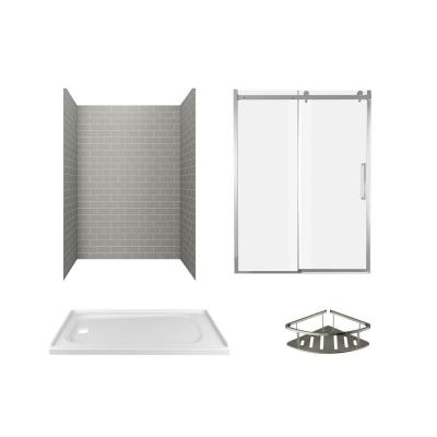 Passage 60 in. x 72 in. Left Drain 4-Piece Glue-Up Alcove Shower Wall, Shelf, Door and Base Kit in Gray Subway Tile