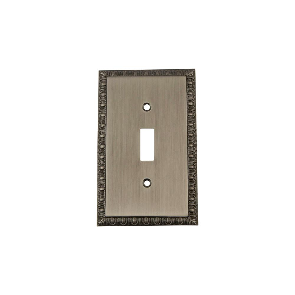 Egg and Dart Switch Plate with Single Toggle in Antique Pewter