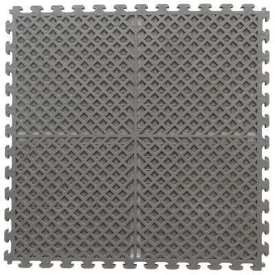 Multi-Purpose 18.3 in. x 18.3 in. Dove Gray Commercial PVC Garage Flooring Tile with Vented Drain Pattern (6-Pieces)