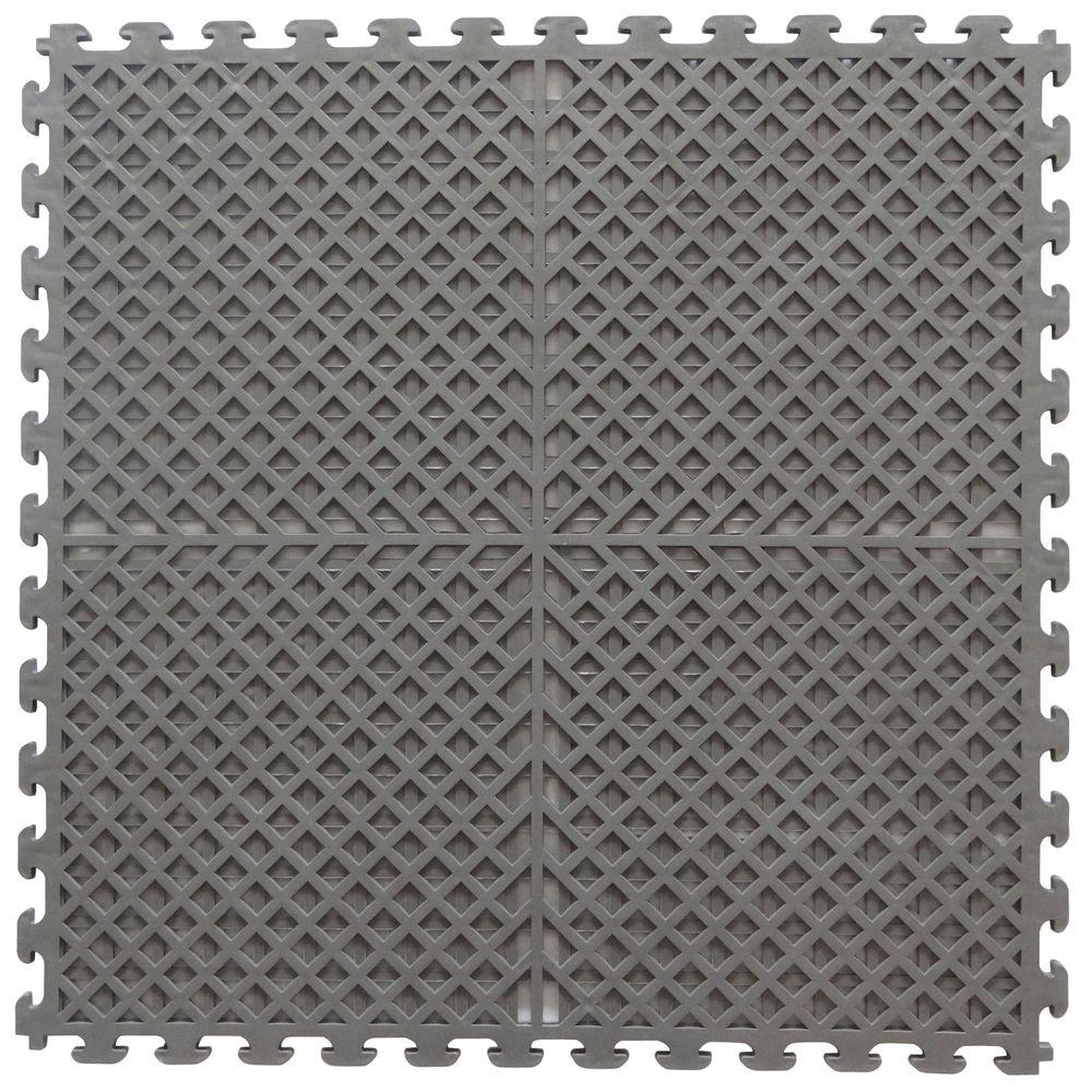 Norsk multi purpose 183 in x 183 in dove gray commercial pvc norsk multi purpose 183 in x 183 in dove gray commercial pvc garage flooring tile with vented drain pattern 6 pieces nsmpvn6dg the home depot dailygadgetfo Image collections