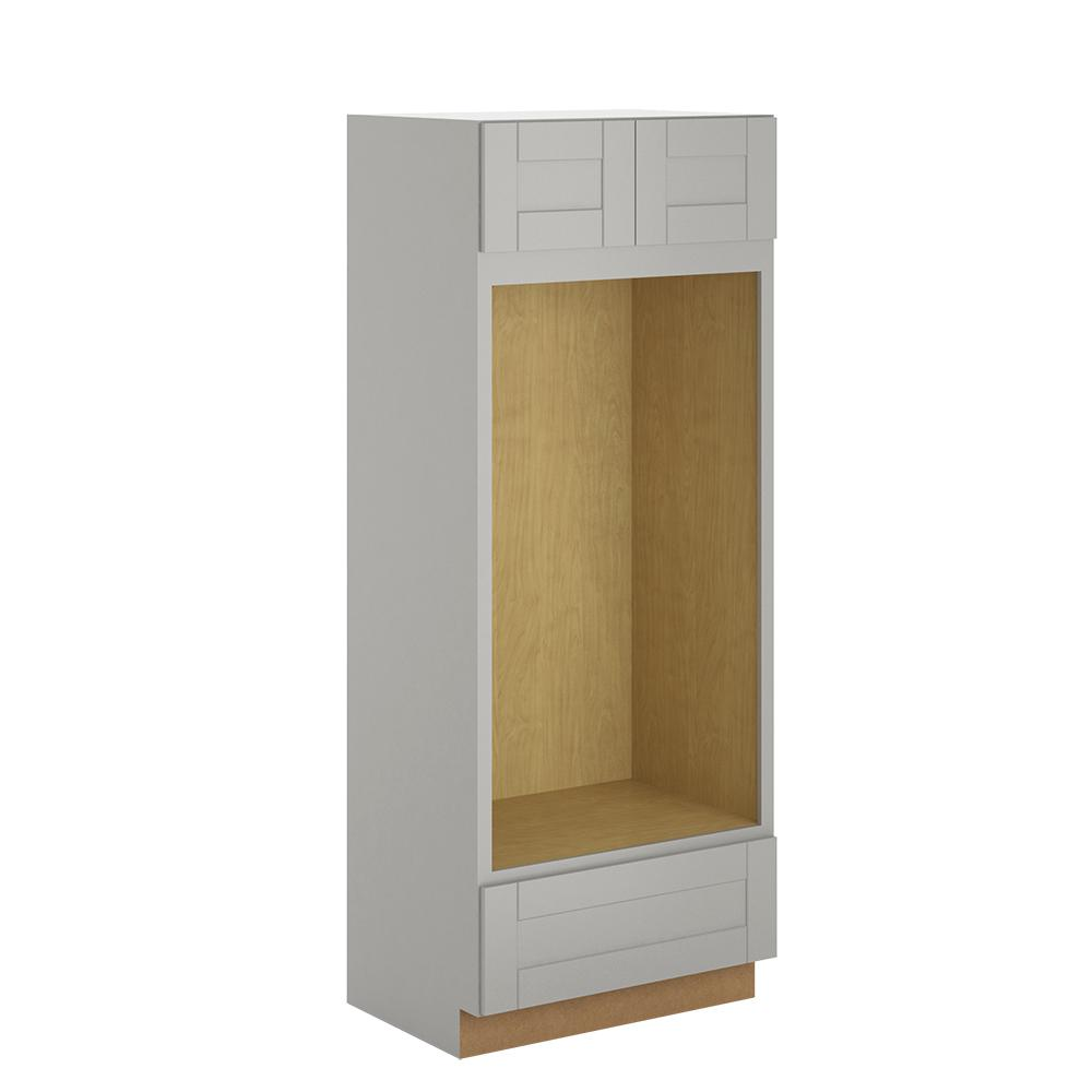 Princeton Assembled 33x84x24 in. Pantry/Utility Double Oven Cabinet in Warm Grey