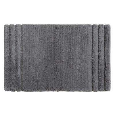 Empress 20 in. x 34 in. Cotton Bath Mat in Pewter
