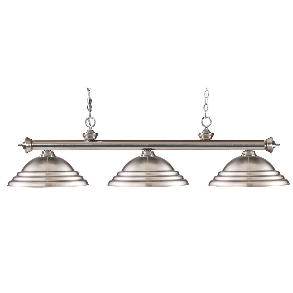 Coastal 3-Light Brushed Nickel Island Light