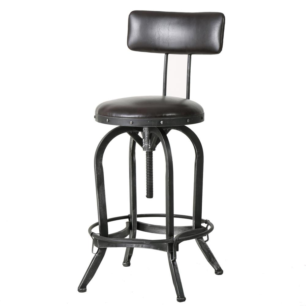 Noble House Vlippu 39 in. Brown Adjustable Bar Stool, Brown/Black Brush Silver was $119.88 now $82.04 (32.0% off)