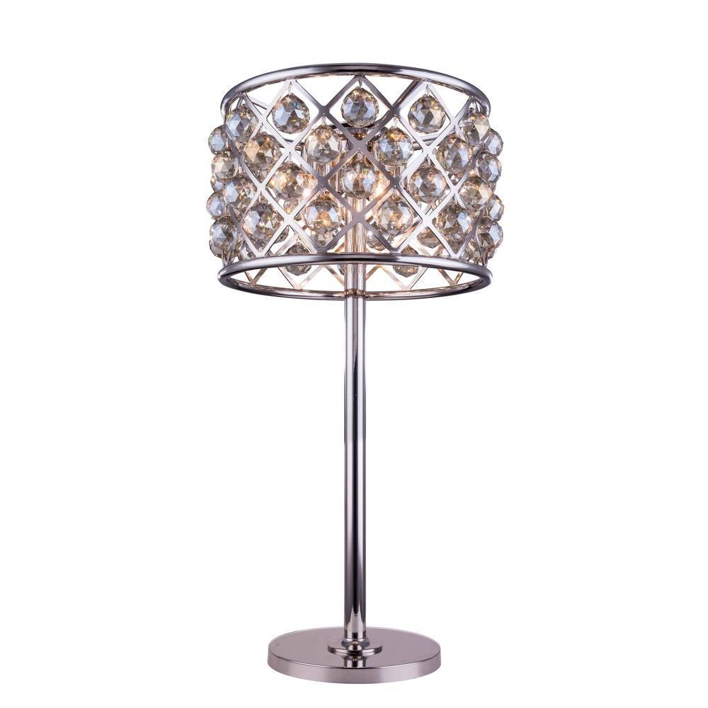 Elegant lighting madison 32 in polished nickel table lamp with elegant lighting madison 32 in polished nickel table lamp with golden teak smoky crystal aloadofball Choice Image