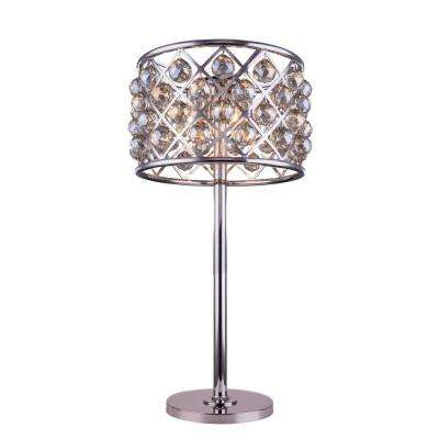 Madison 32 in. Polished Nickel Table Lamp with Golden Teak Smoky Crystal