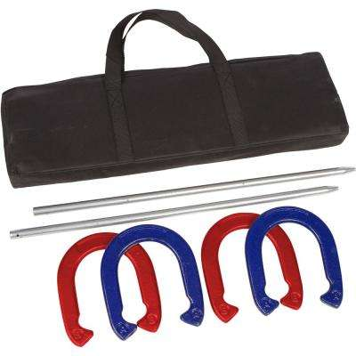 Pro Horseshoe Set - Powder Coated Steel - (Red and Blue)