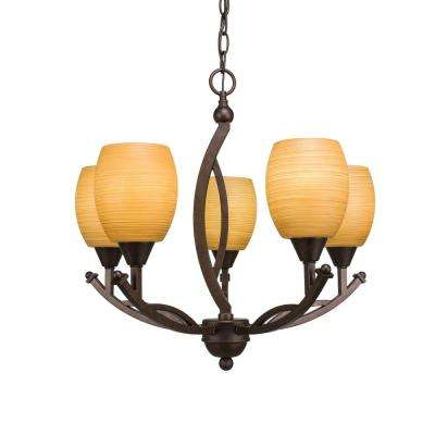 5-Light Bronze Chandelier with 5 in. Cayenne Linen Glass