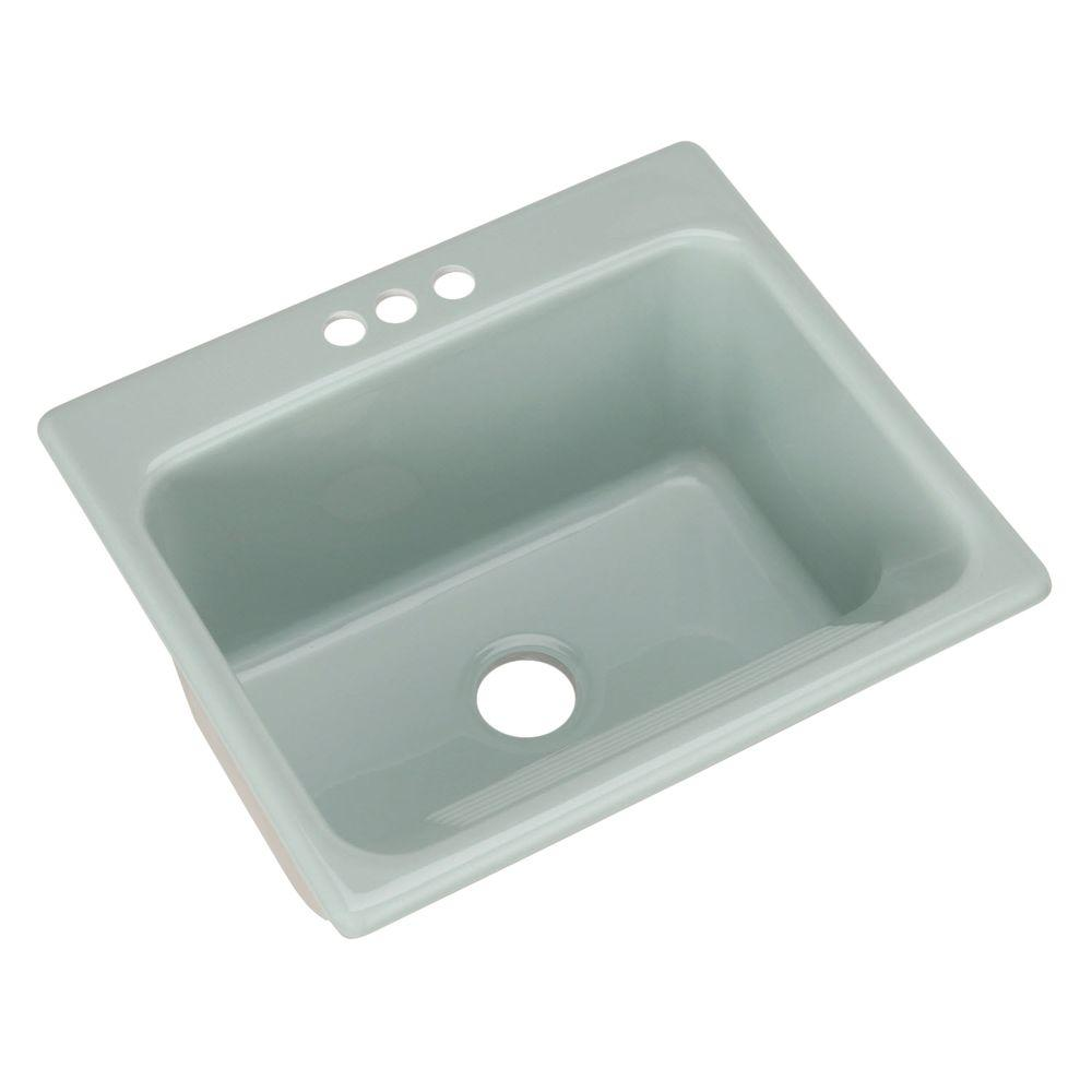 Thermocast Kensington Drop-In Acrylic 25 in. 3-Hole Single Bowl Utility Sink in Seafoam Green
