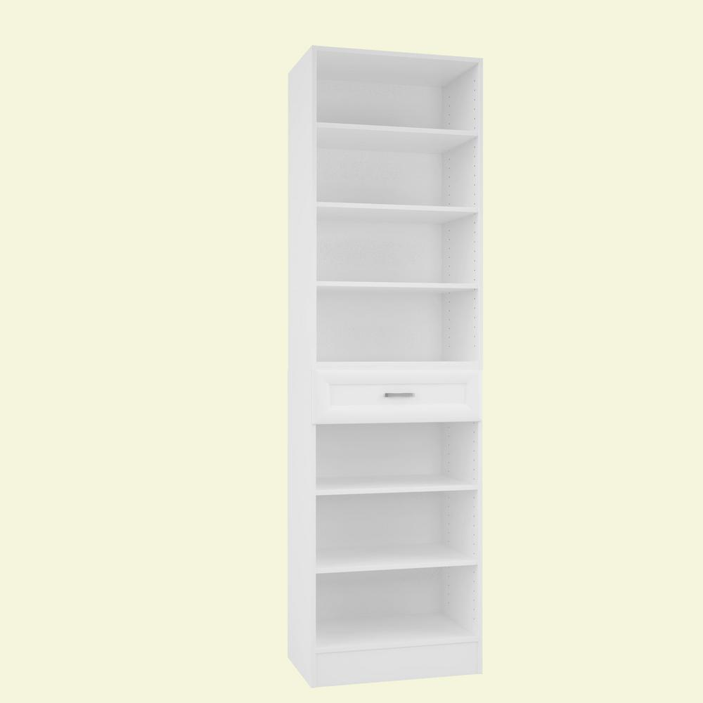 Home Decorators Collection 15 in. D x 24 in. W x 84 in. H Rialto Bianco Melamine with 7-Shelves and Drawer Closet System Kit