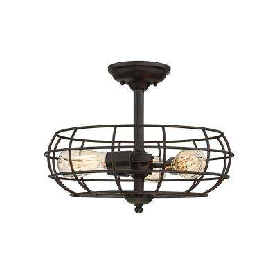 3-Light English Bronze Semi-Flush Mount