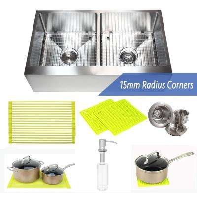 36 in. x 21 in. x 10 in. 16-Gauge Stainless Steel Farmhouse Apron 50/50 Flat Front Double Bowl Kitchen Sink Combo