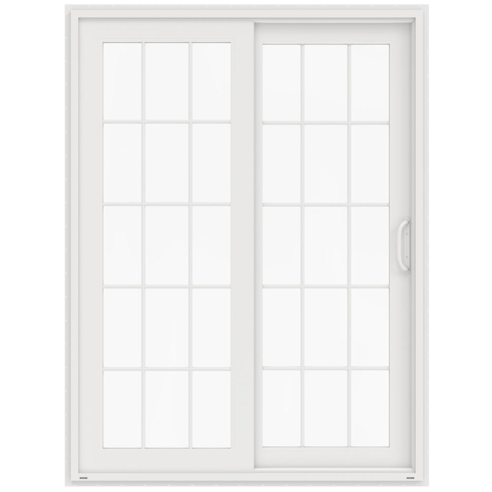 60 in. x 80 in. V-4500 White Prehung Right-Hand Sliding French 15 Lite Vinyl Patio Door