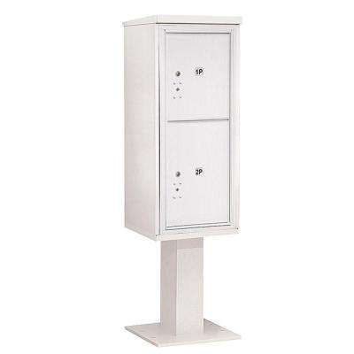 3400 Series 69-1/8 in. 11 Door High Unit White 4C Pedestal Mailbox with 2 PL5's Parcel Locker