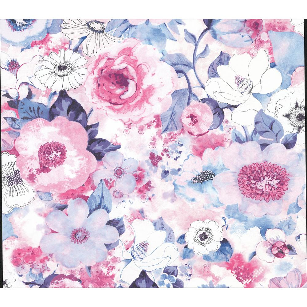 Advantage Baldwin Purple Watercolor Floral Wallpaper 2814 803518